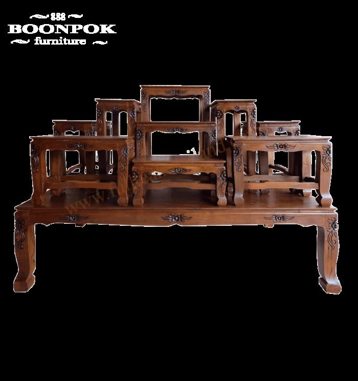 โต๊ะหมู่บูชาไม้สักแกะสลัก9X9