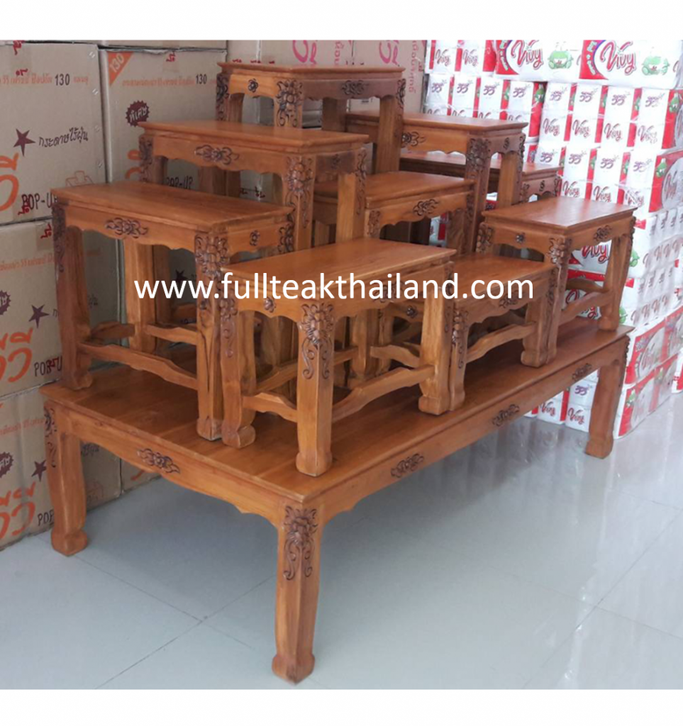 โต๊ะหมู่บูชาพระไม้สัก 9x9